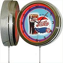 """PEPSI Cola Big Big Glass 15"""" Neon Lighted Wall Clock Sign"""
