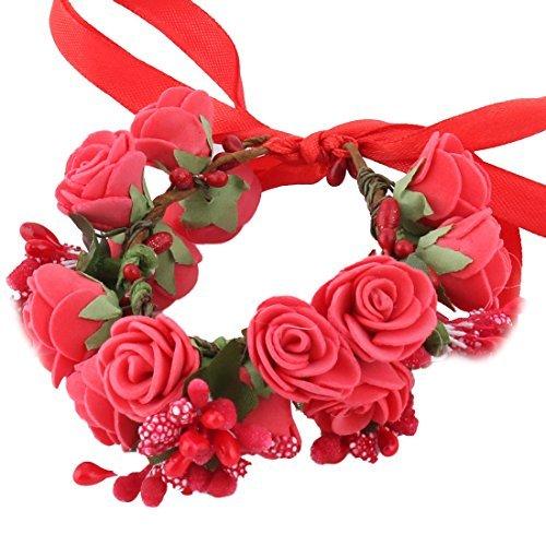 eDealMax Bride de Mariage en Mousse Double couche artificielle poignet Fleur de bricolage Dcor Rouge