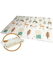 Baby-Spielmatte, faltbarer XPE-Schaumboden, rutschfest, extra groß, wendbare Doppelseiten, wasserdicht, tragbar, für Innen- oder Außenbereich, nicht giftig, bunt