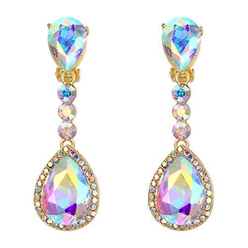 BriLove Wedding Bridal Dangle Earrings for Women Crystal Teardrop Infinity Figure 8 Chandelier Earrings Iridescent AB Gold-Toned ()
