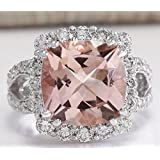 Fashion Women 925 Silver Morganite White Sapphire Gemstone Bridal Ring Sz 6-10 (6)