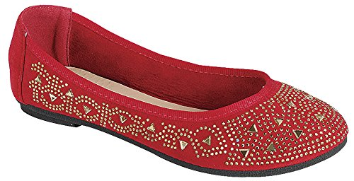 Women's Ballet on Slip Rhinestone Cambridge Glitter Toe Select Red Flat Crystal Round Oq5zz4x