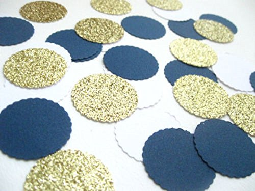 ti 100 pieces Paper Scalloped Circles Gold Navy Blue White Birthday Baby Shower Gender Reveal Nautical Wedding Graduation Party Decor (Wedding Cake Design Circle)