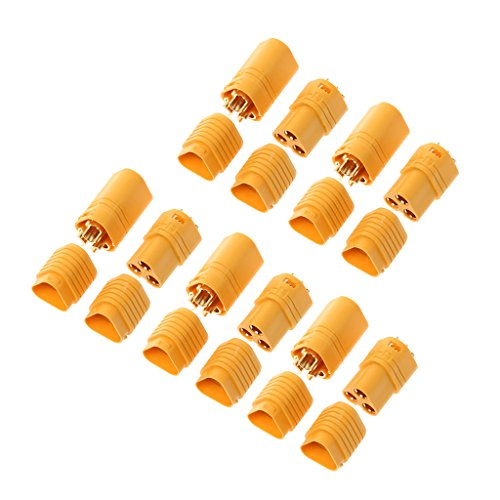 Kofun MT60 Male Connector, 5 Pairs 3.5mm 3 Pole Bullet Connector Plug Set for RC MT60 ESC Housing Lipo Motor Ideal Christmas Birthday MT60 Male Connector Gift for Kids