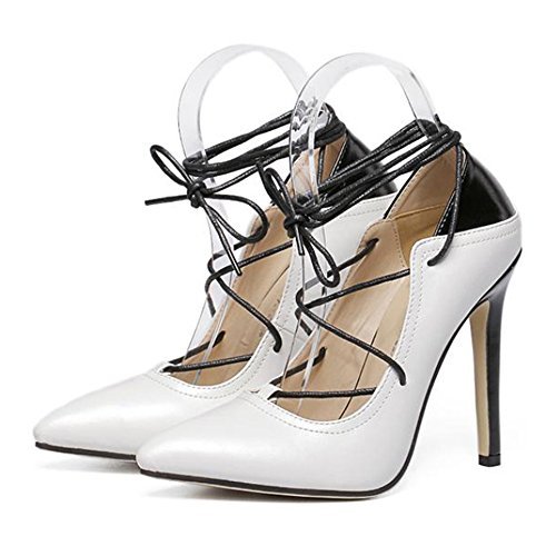 Shoes Heel Lace cut 40 Cross Thin High Pointed up white Low Thin Chromatic Color SYvwqY