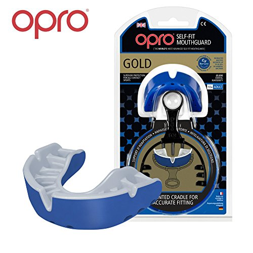 OPRO Mouthguard Custom-Fit Gold Level Gum Shield for Ball, Combat and Stick Sports - 18 Month Dental Warranty (Adult and Kids Sizes) | Blue, Adult