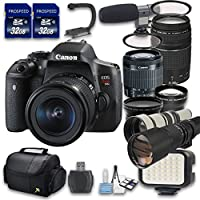 Canon EOS T6i DSLR Camera Bundle with Canon EF-S 18-55mm f/3.5-5.6 IS STM Lens + Canon EF 75-300mm f/4-5.6 III Lens + Preset 500mm f/8 Manual Focus Telephoto T-Mount Lens + 650-1300mm f/8-16 Lens