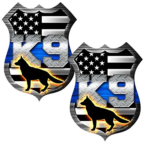 AZ House of Graphics Thin Blue Line K9 Dog Shield Sticker 2 Pack #FS2047 Laminated Tattered Police USA Vinyl Decal Lives Matter Car Truck Bumper Windshield Design