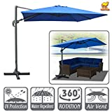 Strong Camel 10'x10'Deluxe Off-Set Hanging Roma Offset Umbrella Tilt & 360 Rotation Patio Heavyduty Outdoor Sunshade Cantilever Crank(Steel Cross Base is Included) (Blue)