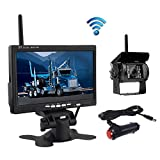 "Wireless Backup Camera, Podofo@ 7"" HD TFT LCD Vehicle Rear View Monitor + Waterproof Back Up Camera Night Vision Parking System with Car Cigarette Lighter Charger For Truck RV Trailer (NO GUIDE LINE)"