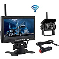 Wireless Backup Camera, Podofo@ 7 HD TFT LCD Vehicle Rear View Monitor + Waterproof Back Up Camera Night Vision Parking System with Car Cigarette Lighter Charger For Truck RV Trailer (NO GUIDE LINE)