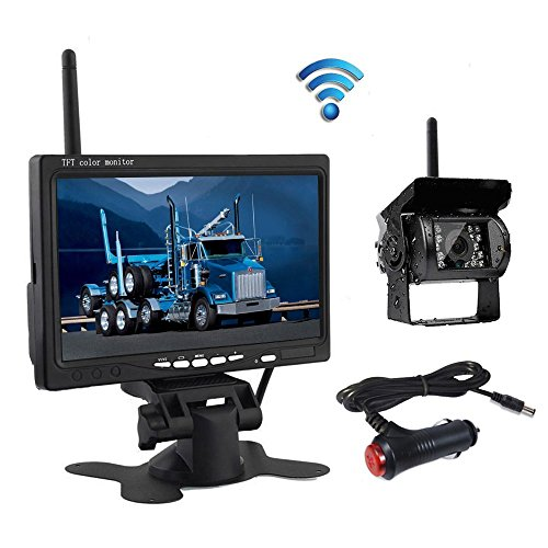 Wireless Backup Camera, Podofo@ 7' HD TFT LCD Vehicle Rear View Monitor + Waterproof Back Up Camera Night Vision Parking System with Car Cigarette Lighter Charger For Truck RV Trailer (NO GUIDE LINE)