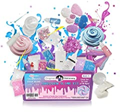 Unicorn slime kitfull box content list: instructions3 flake glitters4 color pigments4 scents –bubblegum, vanilla, strawberry and candyflosssnow powder for cloud slimeclear gluemixing toolsmixing potslarge clay packs, it's super easy to make b...