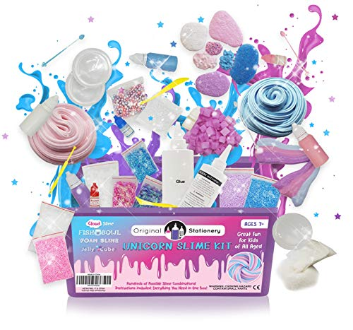 (Unicorn Slime Kit Supplies Stuff FOR Girls Making Slime [Everything In One Box] Kids Can Make Unicorn, Glitter, Fluffy Cloud, Floam Slime Putty. Package Includes Glue & Full Science)