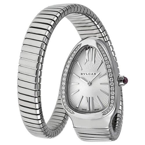 Bvlgari Serpenti Ladies Silver Face Diamond Watch (Bvlgari Silver Watch)