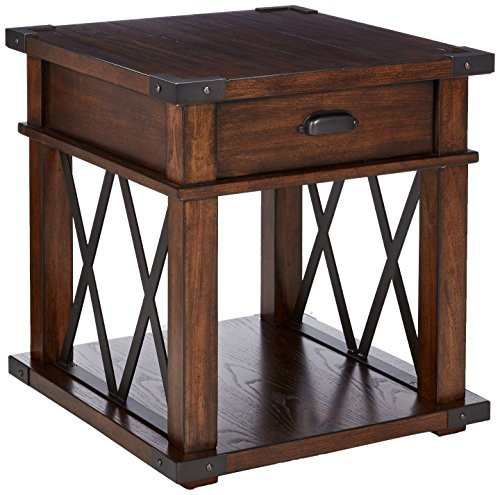 (Progressive Furniture P527-04 Landmark Rectangular End Table, Brown)