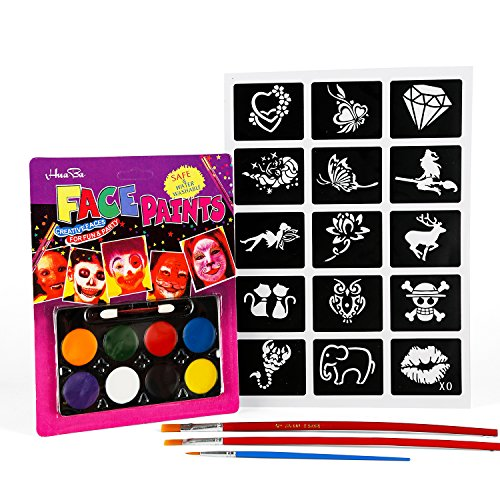 Oiuros Toy Face Paints Face Makeup Ultimate Party Pack - 8 Colors, 15 Stencils and 3 Brushes Included, Easy on & Easy Off, Non-Toxic, Arts & Crafts for All Parties