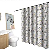 Retro Polyester Shower Curtain Colorful Geometrical Shapes in Memphis Style Funky Hipster Fashion