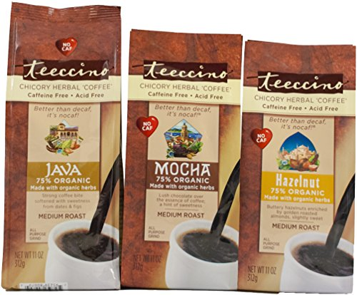 Teeccino Variety Pack (Hazelnut, Mocha, and Java) Chicory Herbal Coffee, Caffeine Free, Acid Free, 11 Ounce (Pack of (Teeccino Hazelnut Herbal Coffee)