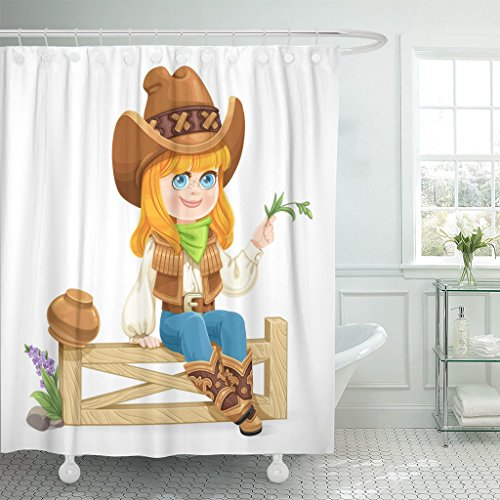 VaryHome Shower Curtain Green Adorable Cute Girl in Cowboy Costume Sits on Fence White Beauty Cartoon Waterproof Polyester Fabric 60 x 72 Inches Set with (Cute Easy Cowgirl Costumes)