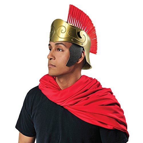 Greek And Roman Costumes Uk (Amscan Gracious God and Goddess Roman Helmet (1 Piece), One Size, Red/Gold)