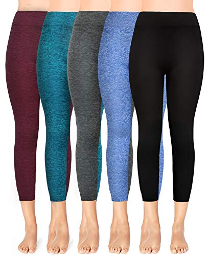 (Moon Wood Extra Soft Capri Leggings for Women with High Waist 5 Pack-L/XL)