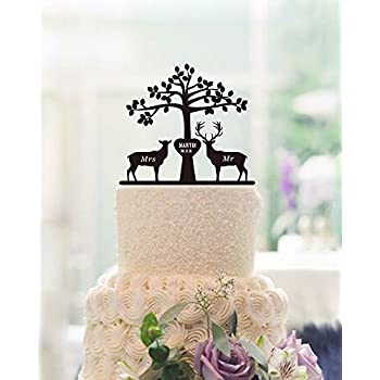 Amazon country doe and buck wedding cake topper country western tree deer and buck wedding cake toppers engraved mr and mrs personalized name and date cake junglespirit Images