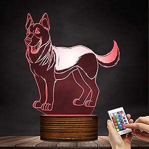 German Shepherd Designed 3D Optical Illusion Night Light Home Decor Pet Dog Puppy Table Desk Lamp