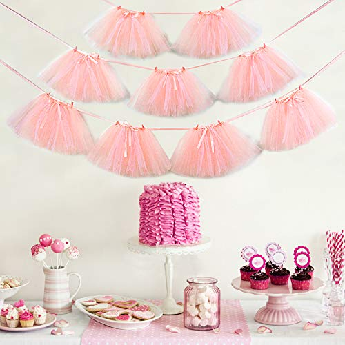 Noex Direct 9 PCS Tutu Table Skirt, Mini Pink Tulle Tutu Garland Lace and Bow Ballet skirt for Birthday Event Wedding Party Decoration ( 29.53 ft Pink -