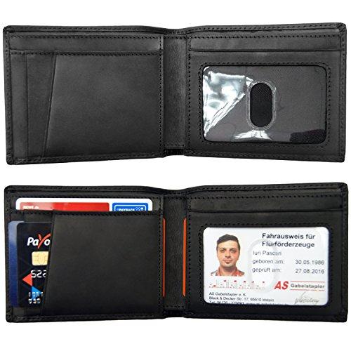 Adore Genuine Leather (Iuroxii- Men's Black Vintage Wallet Soft Leather Slim ID Window RFID Blocking Minimalist)