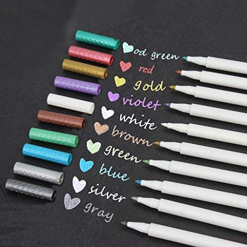 Metallic Calligraphy Marker Pens Metallic Painting Pen Set Round Tip for Birthday Greeting Gift Valentine's Day Cards Thank You Card DIY Scrapbook Photo Album