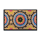 A1 Home Collections First Impression Handwoven Adria Suzani Extra Thick Natural Coir Doormat, Large