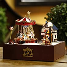 Jahoo Wooden Handmade Dollhouse Miniature DIY Kit - merry-go-round of carousel small amusement park music box Toy Christmas Gift Birthday Gift