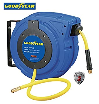 Enclosed Retractable Air Compressor/Water Hose Reel with 3/8 in. x 50