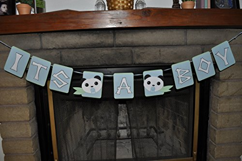 Panda Baby Shower Banner 3D for Boys