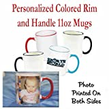 Personalized Coffee Photo Mug Red Trim