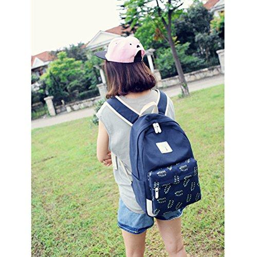 Inwagui Damen Mädchen Canvas Rucksack Kinderrucksack Reisetasche Casual Daypacks Schultaschen Schulrucksäcke Mit Laptop Fach - Blau