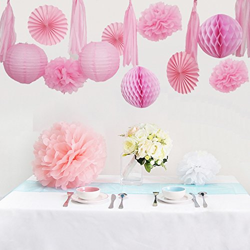 Aparts 1 set pink color hanging paper lanterns honeycomb ball paper aparts 1 set pink color hanging paper lanterns honeycomb ball paper fan diy paper flower and paper tassel for wedding party decoration mightylinksfo