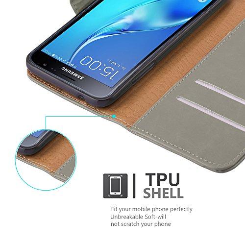 Cadorabo - Funda Estilo Book Lujo para >                                          Samsung Galaxy J3 (6) - Modelo 2016                                          < con Tarjetero y Función de Soporte �?Etui Case Cover Carcasa Caja Protección en NEGRO-GRAFITO MARRÓN-CAPUCHINO