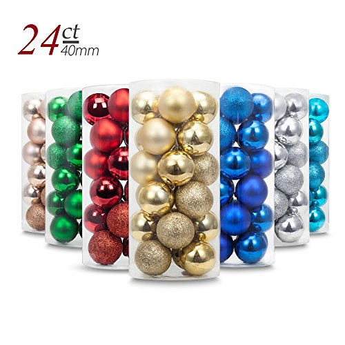 Yoland 24ct Barrel Plating Multicolor Christmas Ball Ornaments (40mm/1.57'' in) (Gold)