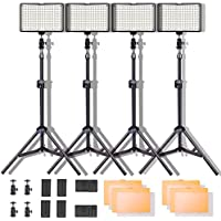 Led Video Light Kit, SAMTIAN 160 Dimmable 3200/5600K LED Camera Light Set with Stand for YouTube Studio Photography Video Shooting, Batteries and Chargers, Color Filters, Carry Bag Included(4 Pack)