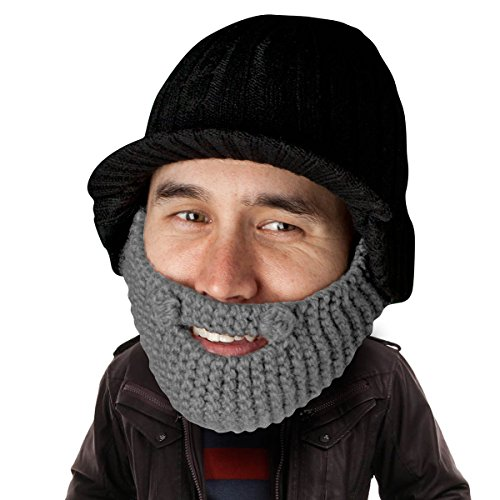 Elephant Rider Costume (Beard Head Stubble Rider Beard Beanie - Funny Knit Hat and Fake Beard Facemask)