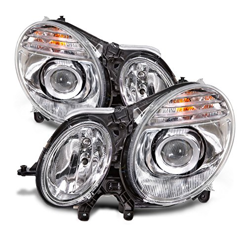 - HEADLIGHTSDEPOT Chrome Housing Halogen Headlights Compatible with Mercedes-Benz E-Class E320 E350 E55 AMG E63 Includes Left Driver and Right Passenger Side Headlamps