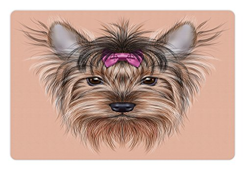 Ambesonne Yorkie Pet Mat for Food and Water, Realistic Computer Drawn Image of Yorkshire Terrier with Cute Ribbon Animal, Rectangle Non-Slip Rubber Mat for Dogs and Cats, Salmon Pale Brown