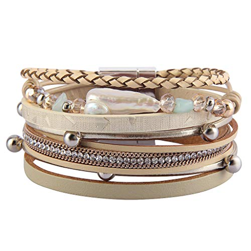 (Jenia Leather Wrap Around Bracelet Multi Rope Boho Bracelets Trendy Cuff Bracelets Baroque Pearls Bracelet Bohemian Jewelry Mother's Days Birthday Gifts for Women, Teens Girl, Daughter,)