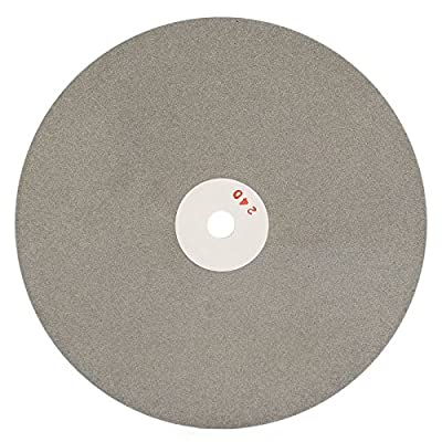 Drilax 8 inch Grit 240 Professional Quality High Density Diamond Coated Flat Lap Lapping Lapidary Wheel Disc Glass Jewelry Polishing Tool Grinding Sharpening Metal Back 1/2 Arbor (G0240)