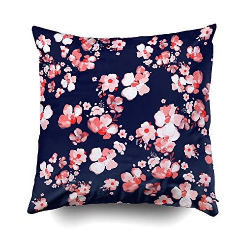 Musesh Flowers Pattern Floral Background Fashion Prints Design Textile Wallpapers Wrapping Paper Cushions Throw Pillow Cover for Sofa Home Decorative Pillowslip Gift Pillowcase 18X18Inch
