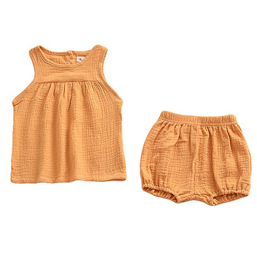 (LOOLY Baby Outfits Unisex Girls Boys Cotton Lien Blend Tank Tops and Bloomers Yellow)