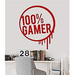 colaru Wall Decal Sticker Art Mural Home Decor Quote 100% Gamer Teen Room Video Games Art