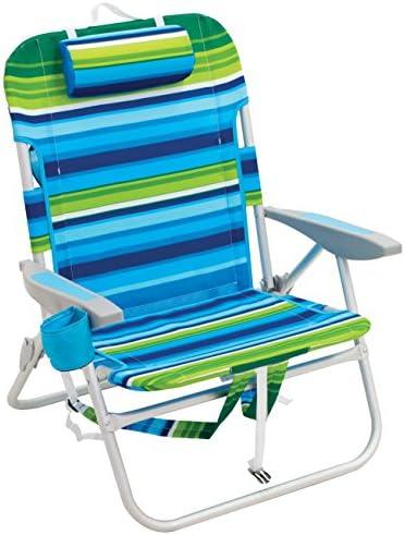 Rio Beach Big Boy Folding 13 Inch High Seat Backpack Beach or Camping Chair, Green Blue Stripe